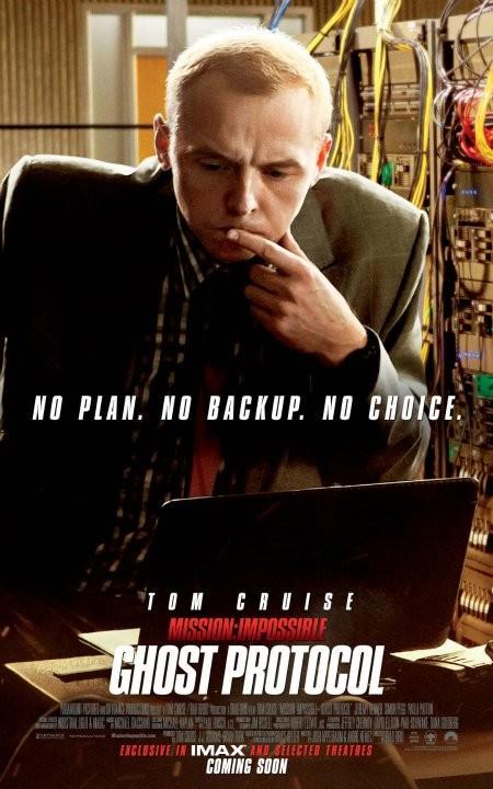 Simon Pegg nel character poster di Mission: Impossible - Protocollo Fantasma