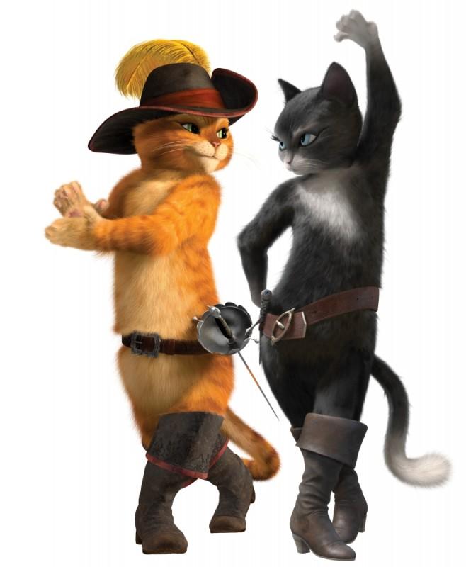 Il gatto con gli stivali: il micio protagonista insieme a Kitty zampe di velluto