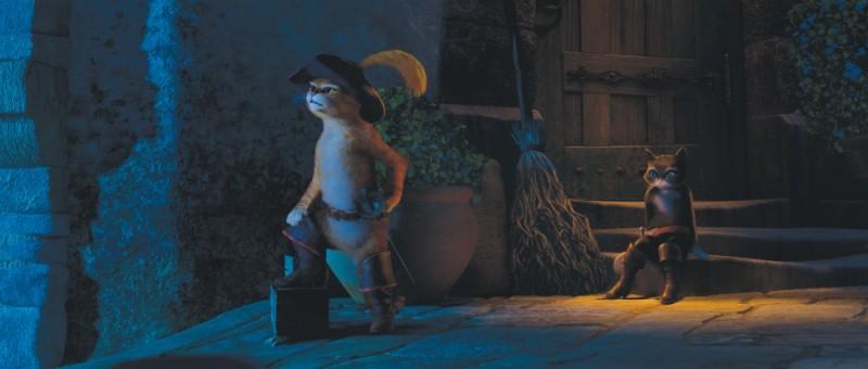 Il gatto con gli stivali: il gatto protagonista insieme a Kitty in una scena del film