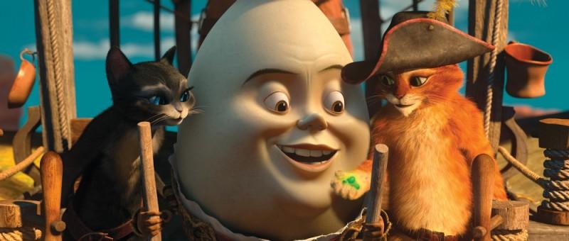 Il gatto con gli stivali: Kitty zampe di velluto, Humpty Dumpty e il gatto con gli stivali in una scena del film