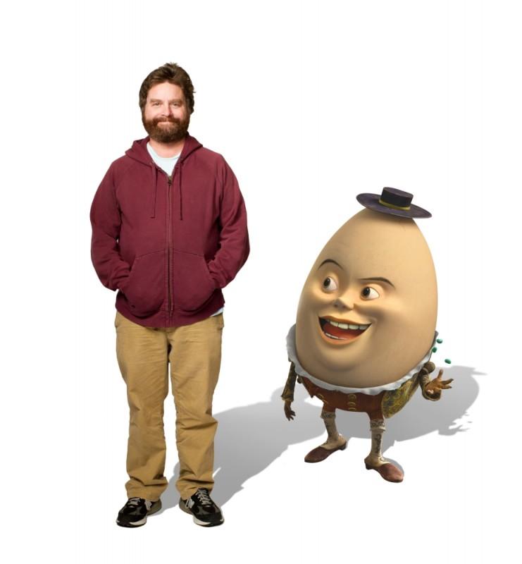 Il Gatto con gli Stivali: Zach Galifianakis doppiatore di Humpty Dumpty in una foto promozionale