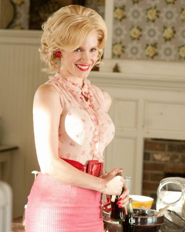 Jessica Chastain sorridente in una scena di The Help