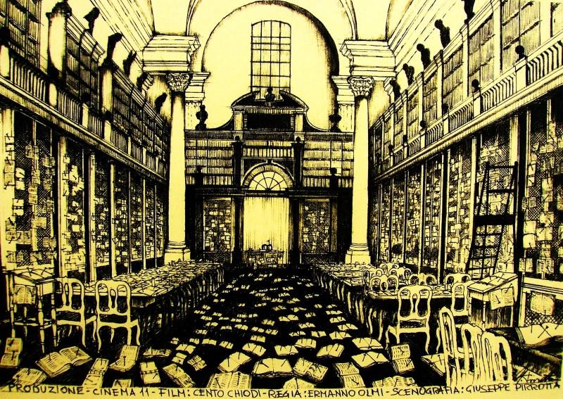 Cento Chiodi: bozzetto della grande Biblioteca per la scenografia del film realizzato da Giuseppe Pirrotta