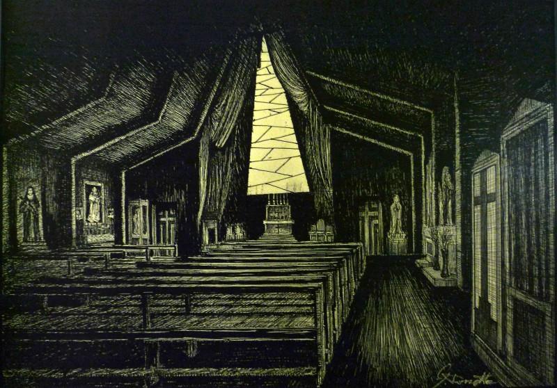 Il Villaggio Di Cartone: bozzetto per la scenografia del film realizzato da Giuseppe Pirrotta.
