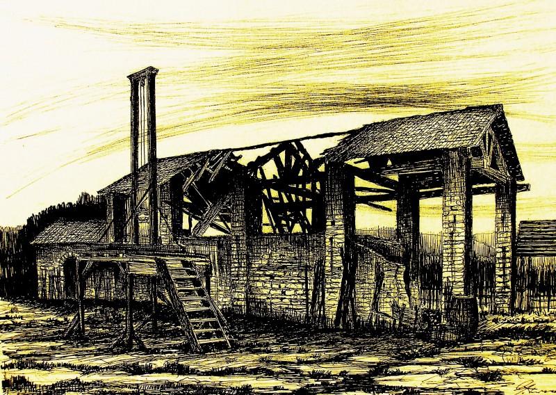 Ritorno a Rivombrosa: bozzetto scenografia del granaio bruciato firmato da Giuseppe Pirrotta