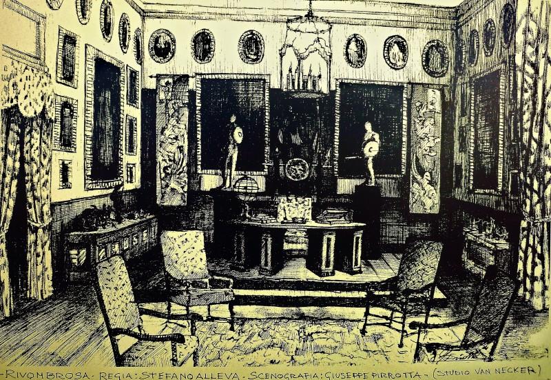 Ritorno a Rivombrosa: bozzetto scenografia della sala armi del marchese Van Necker firmato da Giuseppe Pirrotta