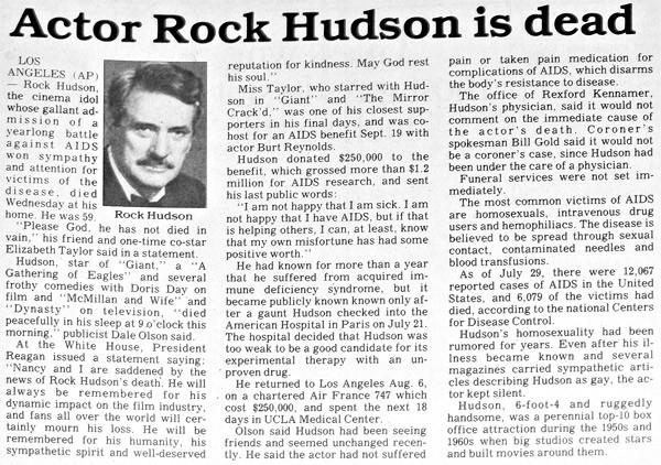 2 ottobre 1985: i giornali danno notizia della morte di Rock Hudson.