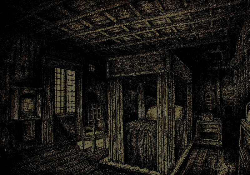 L'Arcano Incantatore - bozzetto scenografia  della camera del monsignore di G. Pirrotta