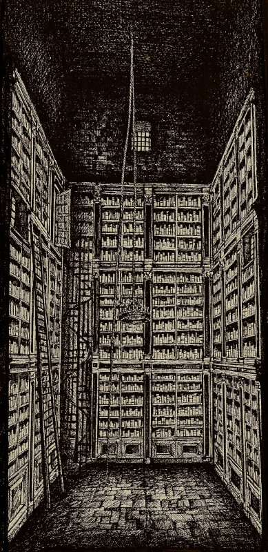 L'Arcano Incantatore - bozzetto scenografia della torre Biblioteca firmato da Giuseppe Pirrotta