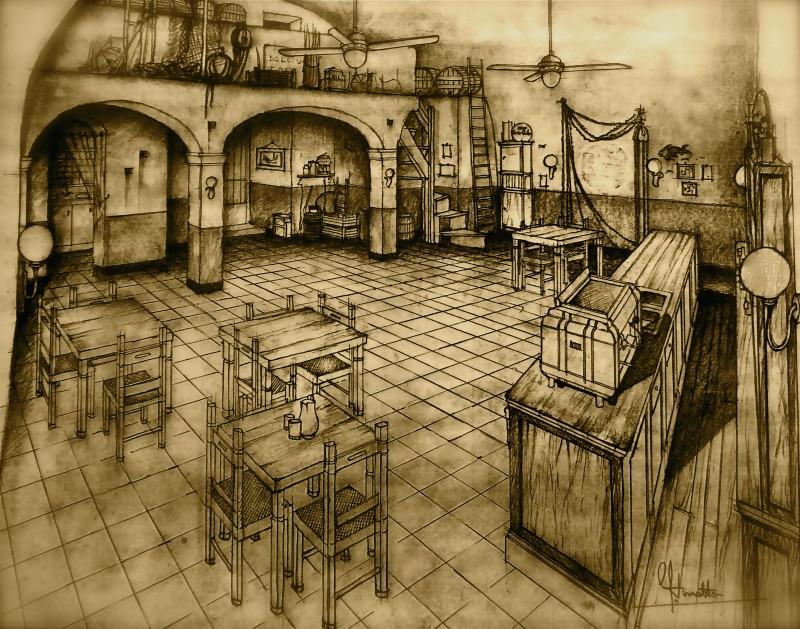 Un Amore Sconosciuto: Bozzetto scenografia della locanda dell'isola firmato da Giuseppe Pirrotta