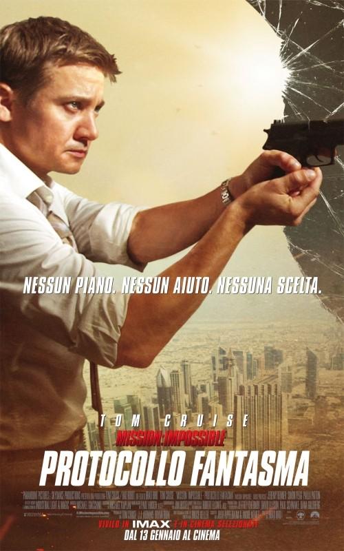 Jeremy Renner nel character poster italiano di Mission: Impossible - Protocollo Fantasma
