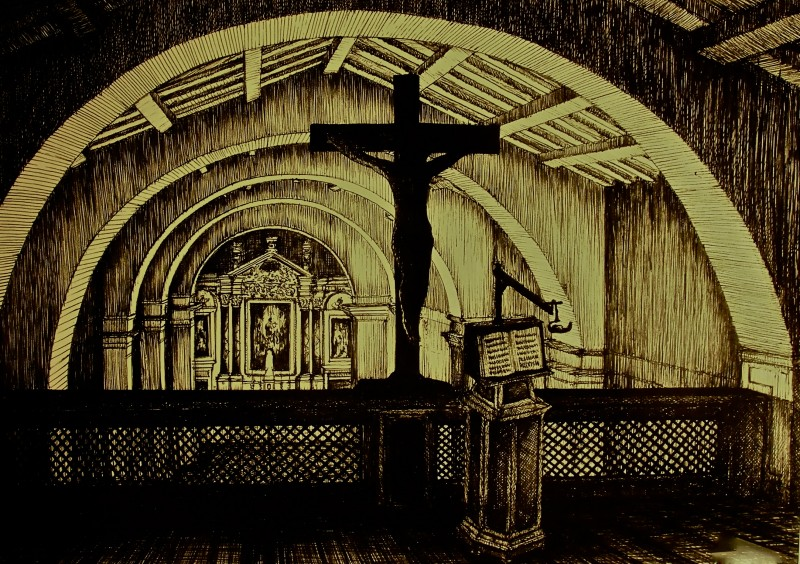 Padre Pio: bozzetto scenografia coro della chiesa realizzate da Giuseppe Pirrotta per il film tv