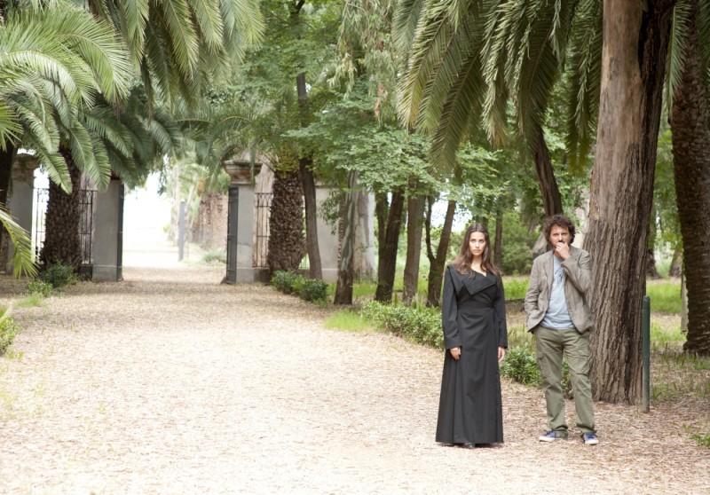 Leonardo Pieraccioni insieme a Ariadna Romero sul set di Finalmente la felicità