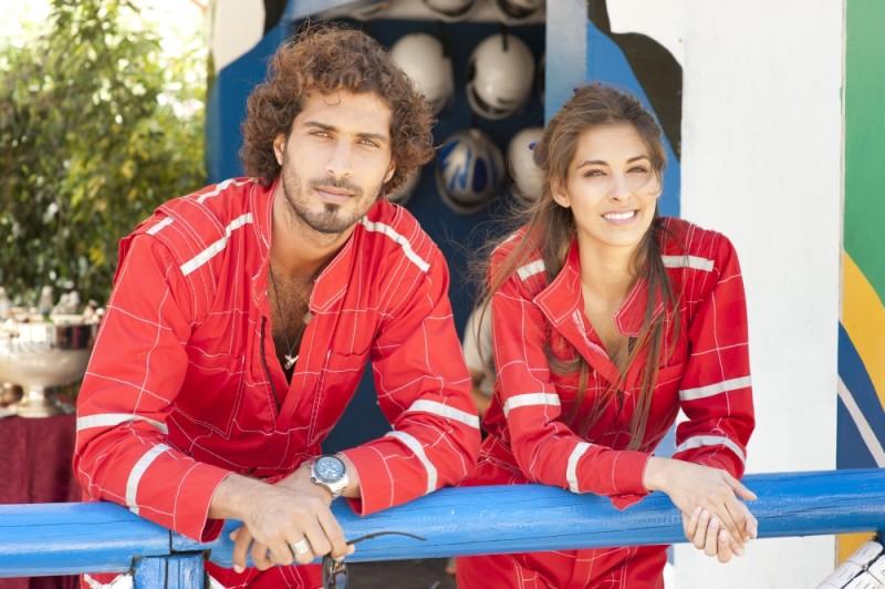 Thyago Alves e Ariadna Romero sul set di Finalmente la felicità