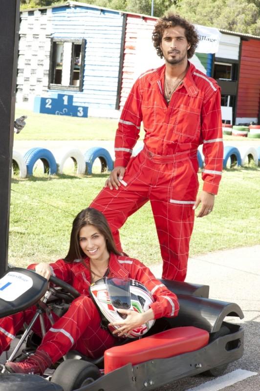 Thyago Alves e Ariadna Romero sulla pista di go-kart sul set di Finalmente la felicità