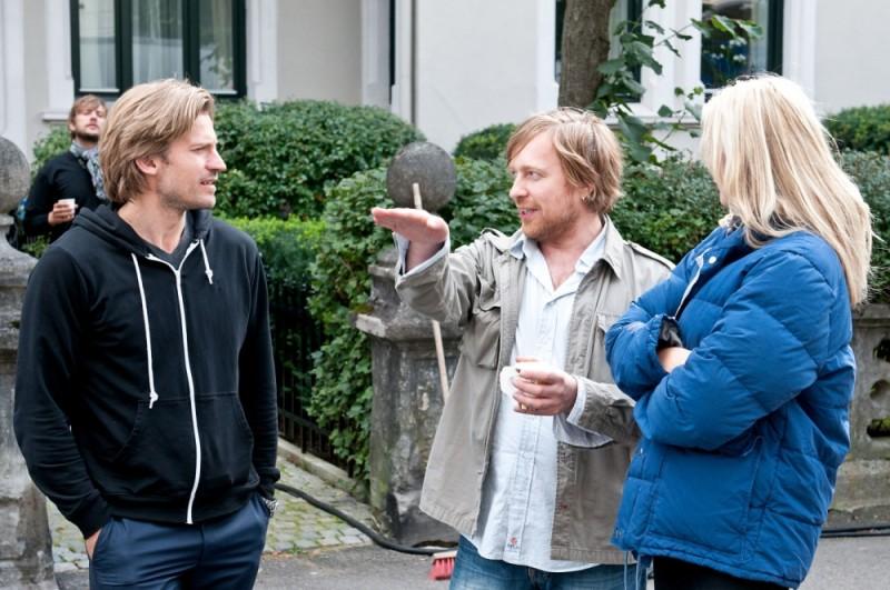 Headhunters: Nikolaj Coster-Waldau insieme al regista Morten Tyldum sul set del film
