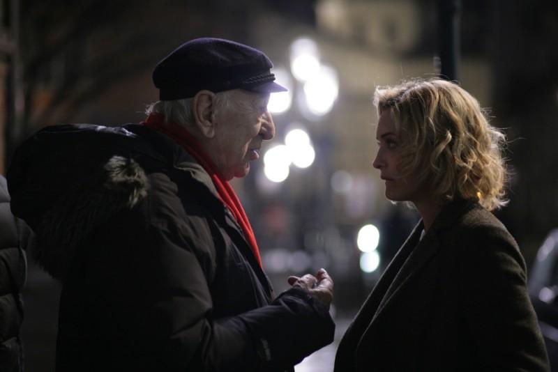 Giuliano Montaldo sul set del film L'industriale con Carolina Crescentini