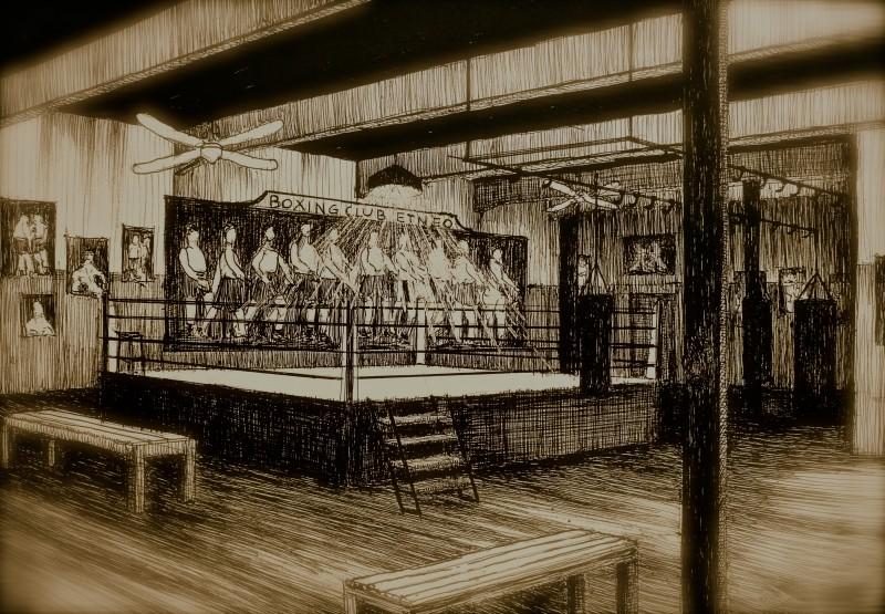 Il Bambino Della Domenica: bozzetto scenografia sala boxing realizzato da Giuseppe Pirrotta