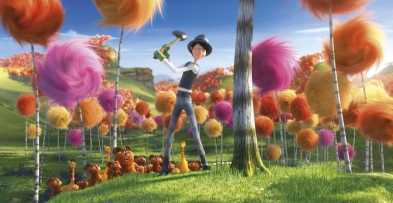 Alberi di pelouche in una scena del film Lorax - Il guardiano della foresta