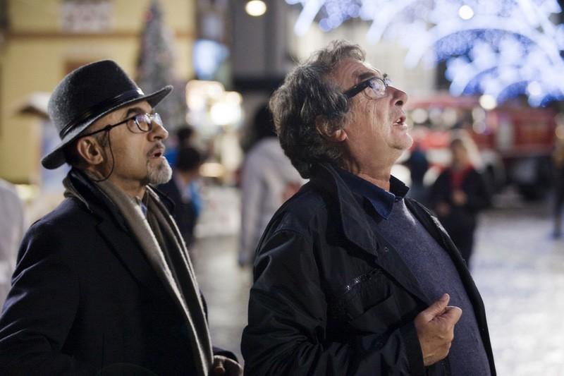 Ivano Marescotti e Neri Parenti sul set di Vacanze di Natale a Cortina
