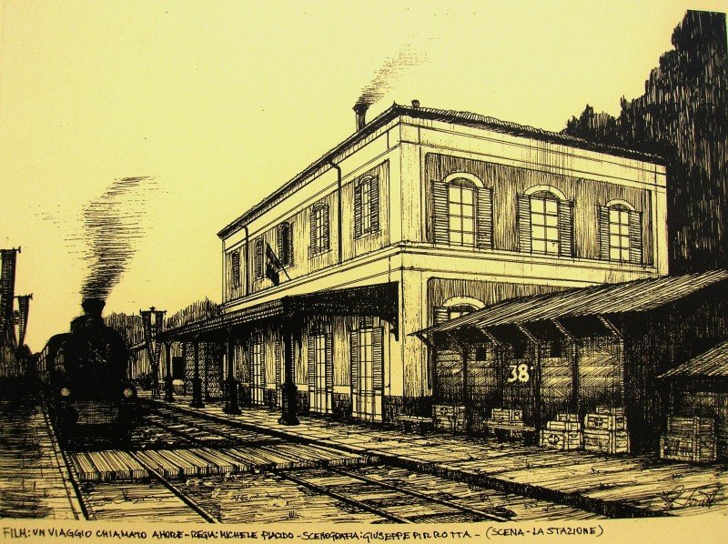 Un viaggio chiamato amore - bozzetto scenografia della stazione realizzata da G. Pirrotta