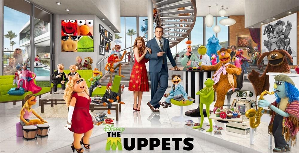 I Muppet: un affollato wallpaper del film con tutti i protagonisti