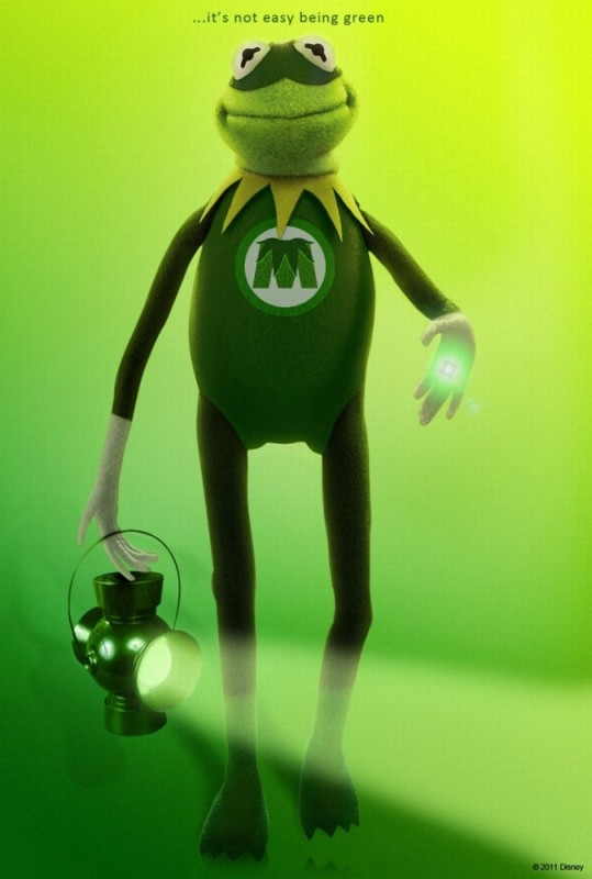 I Muppet: un verdissimo character poster di Kermit che imita Lanterna verde