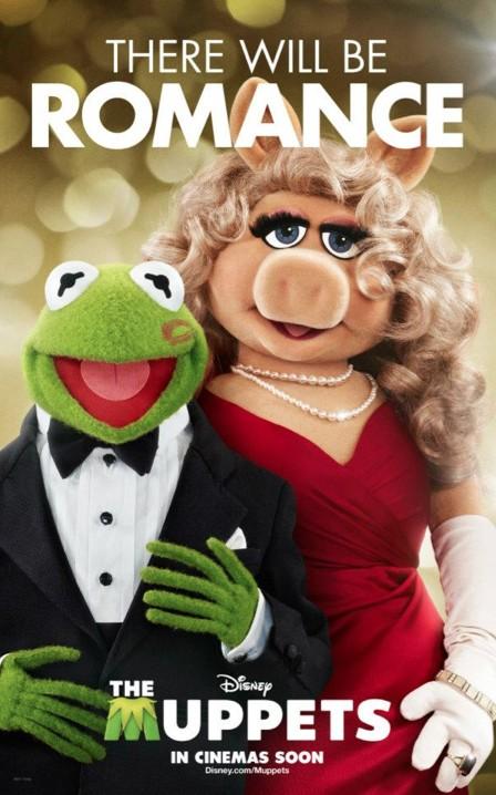 Miss Piggy e Kermit in un romantico poster de I Muppet
