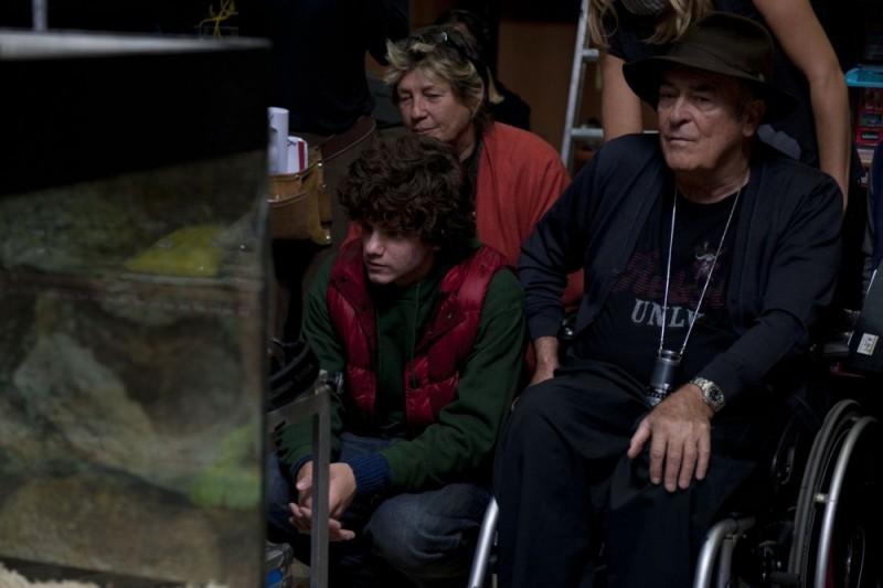 Bernardo Bertolucci sul set di Io e te con Jacopo Olmo Antinori