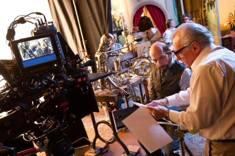 Martin Scorsese sul set di Hugo con Ben Kingsley