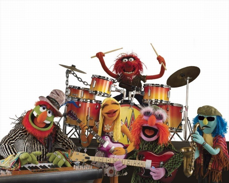 I Muppet: Dr. Teeth and the Electric Mayhem band composta da Animal, Floyd Pepper, Janice e Zoot in una divertente foto promozionale del film