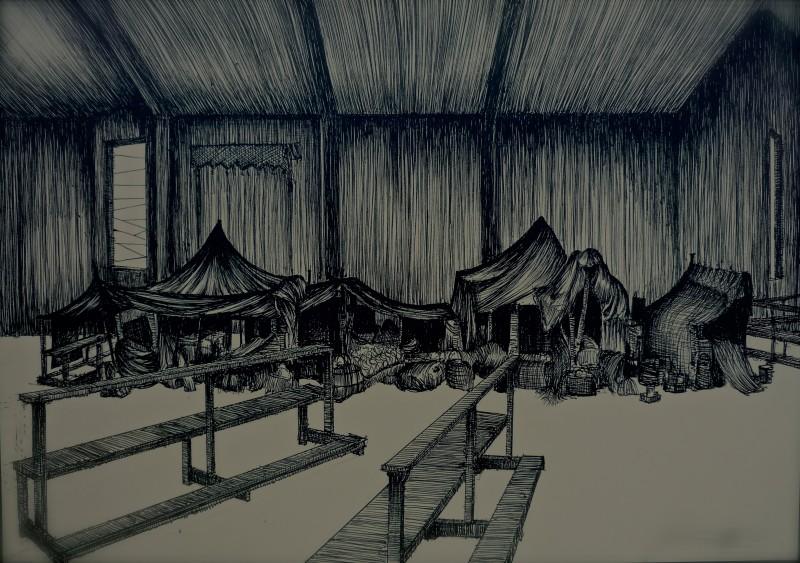 Il Villaggio di Cartone - bozzetto scenografia rifugio realizzato da G. Pirrotta