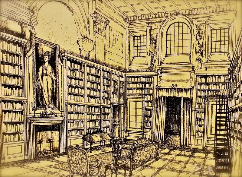 La figlia di Elisa Ritorno a Rivombrosa - bozzetto scenografia biblioteca, realizzata da G. Pirrotta