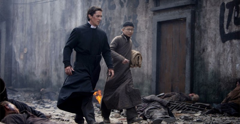 The Flowers of War: Christian Bale in una scena del film