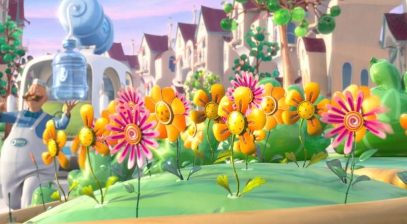Fiori colorati in una scena del film d'animazione Lorax - Il guardiano della foresta