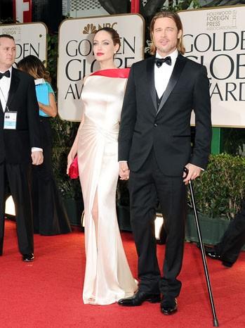 Angelina Jolie e Brad Pitt sul tappeto rosso dei Golden Globes 2012