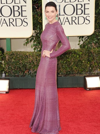 Julianna Margulies, protagonista di The Good Wife, sul tappeto rosso dei Golden Globes 2012