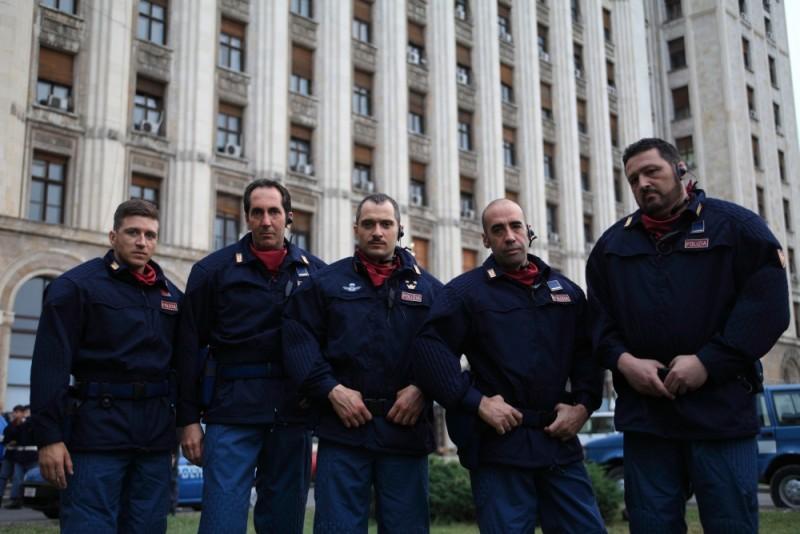 Diaz - Non pulire questo sangue: Alessandro Roja, Claudio Santamaria e Paolo Calabresi in una foto promozionale del film