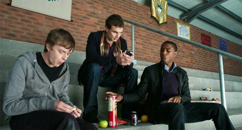 Dane DeHaan nel film Chronicle accanto a Alex Russell e Michael B. Jordan