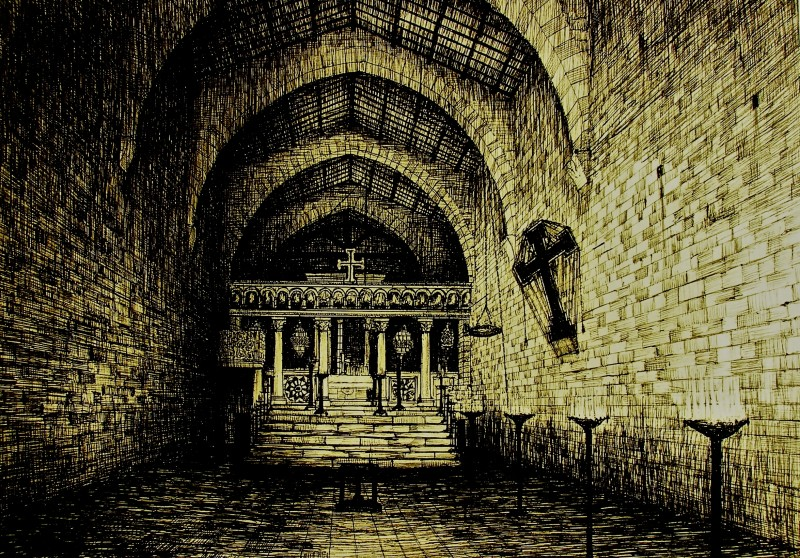 Film - Magnificat - bozzetto scenografia Chiesa della Visitazione realizzato da G. Pirrotta