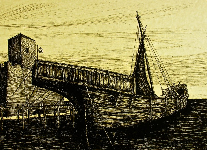 I Cavalieri che fecero l'impresa - bozzetto scenografia della nave ancorata realizzato da G. Pirrotta