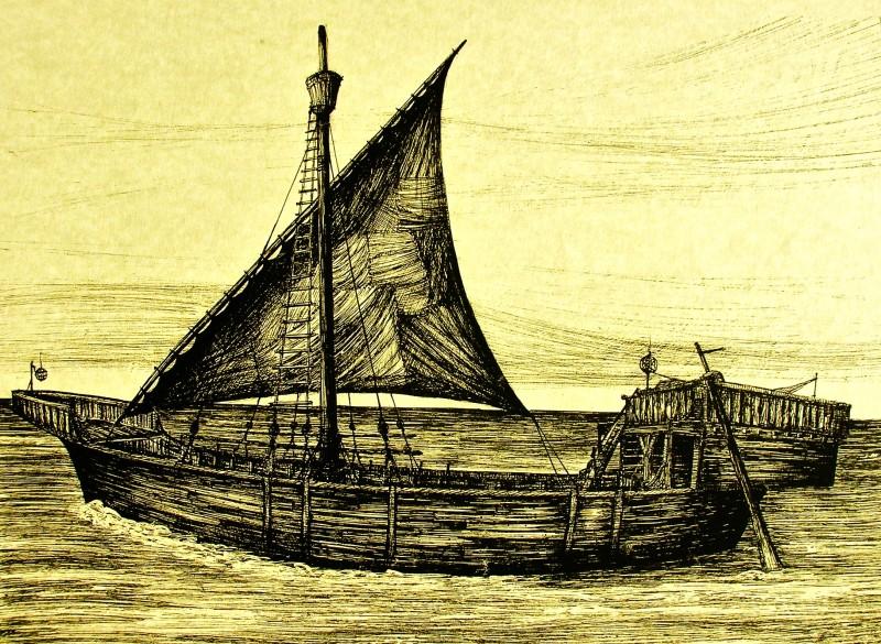 I Cavalieri che fecero l'impresa - bozzetto scenografia della nave realizzato da G. Pirrotta