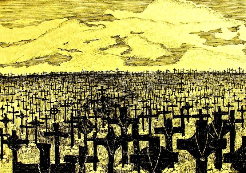 I Cavalieri che fecero l'impresa -  bozzetto scenografia del campo delle croci realizzato da G. Pirrotta