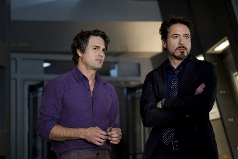 Mark Ruffalo e Robert Downey Jr. in una scena di The Avengers