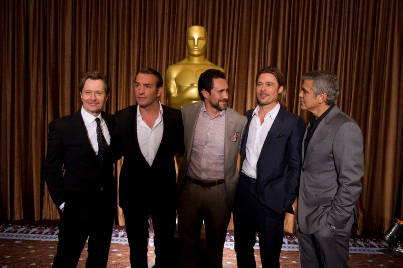 Academy Awards 2012: i candidati all'Oscar per il Miglior attore protagonista Gary Oldman, Jean Dujardin, Demian Bichir, Brad Pitt e George Clooney