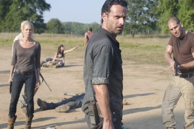 The Walking Dead: Laurie Holden, Andrew Lincoln e Jon Bernthal in una scena dell'episodio Nebraska