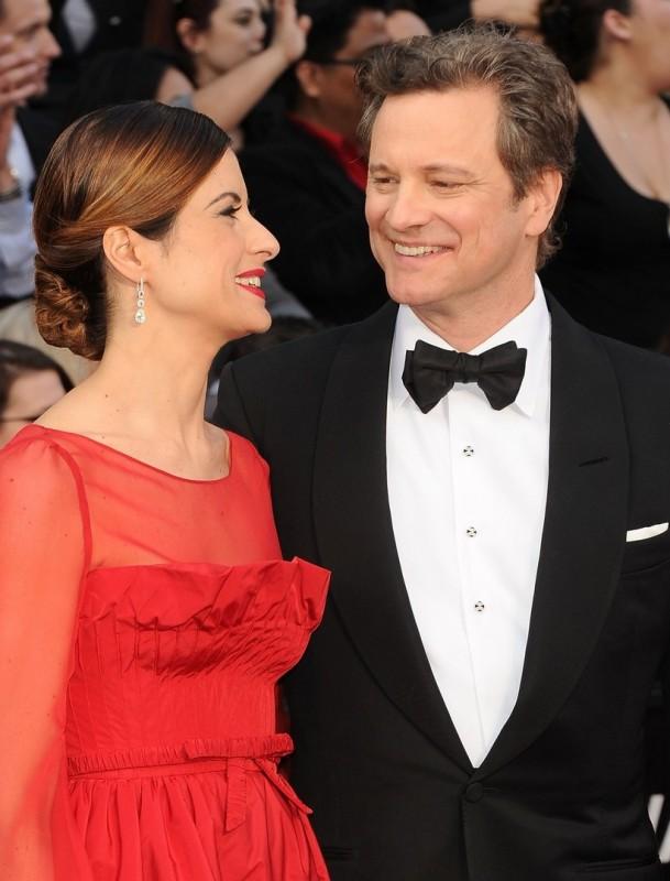 Oscar 2012: Colin Firth con la moglie Livia sul red carpet