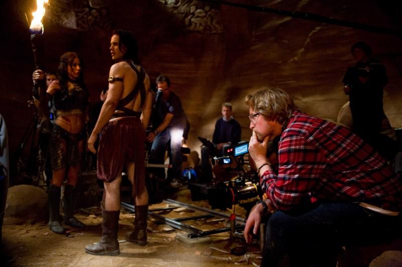 John Carter: il regista del film Andrew Stanton sul set insieme ai due protagonisti Lynn Collins e Taylor Kitsch