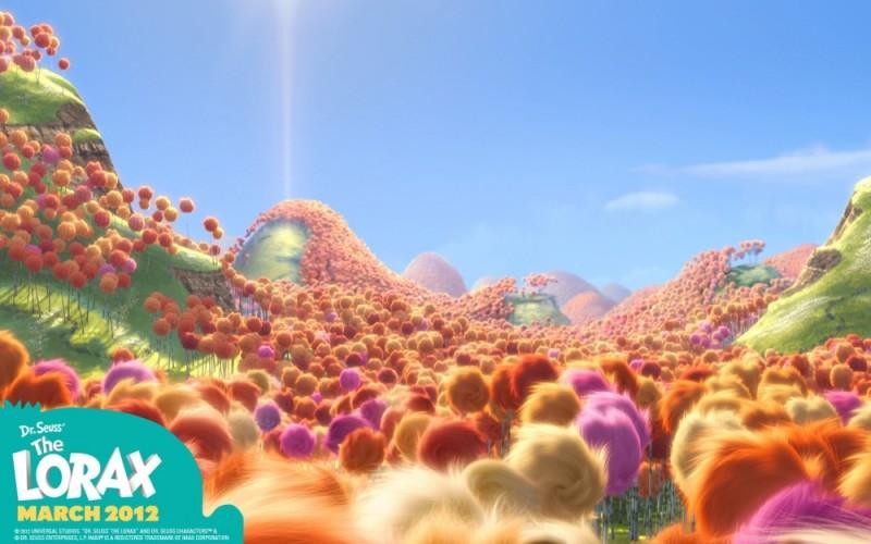 Lorax - Il guardiano della foresta: il wallpaper che raffigura l'incantata e coloratissima Valle di Truffula