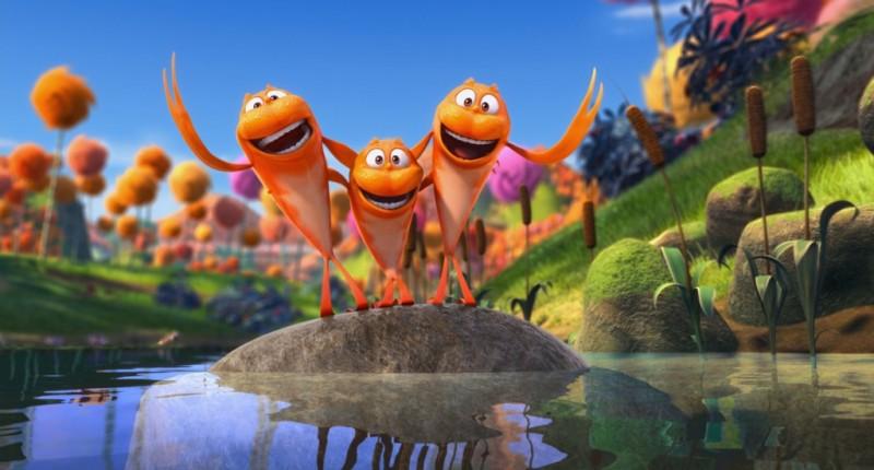 Lorax - Il guardiano della foresta: i simpatici pescetti rossi Pip, Finn e Gil in una scena del film